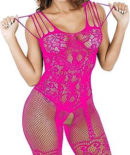 acda483c61e Xinkaishi Women s Sexy Temptation Fishnet Bodystocking Sheer Mesh Lace  Bodysuit Open Crotch Lingerie