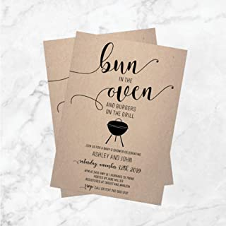 Bun in the Oven | Burgers on the Grill | Baby Shower Invitation | Baby-Q Shower | Baby BBQ