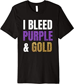 I Bleed Purple & Gold Game Day for Basketball Football Premium T-Shirt