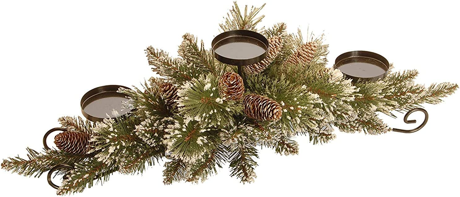 Tabletop Metal Christmas Centerpiece Embellished w Deep Red Ribbons FREE Flamelss Candle!