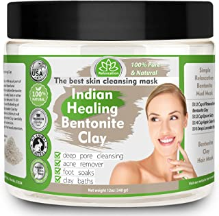 Indian Healing Clay, Pure & Natural Bentonite Clay, Deep Pore Cleansing Mask, Face Skin Care, Detoxifying Wyoming Organic ...