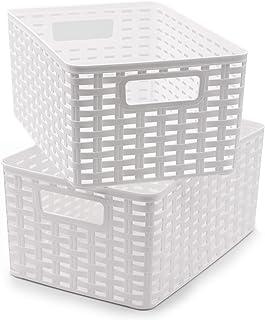 Possidonia Lot de 2 paniers de rangement multi-usages – Boîte de rangement en plastique – Design en rotin – 29 x 19,5 x 13...