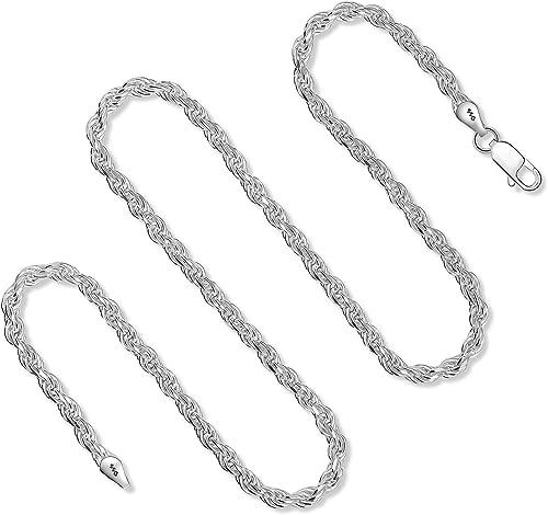 925 Sterling Silver Diamond Cut Rope Chain Necklace Bracelet 1.5MM – 3.5MM For Women & Men 7-36 Inch