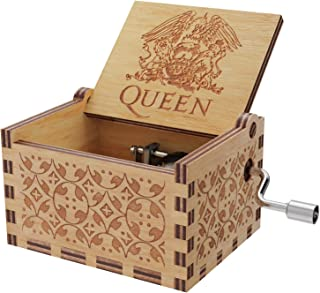 Huntmic Queen Wood Music Boxes, Antique Engraved Musical Boxes Case for Birthday Present Kid Toys Hand-Operated (Queen)