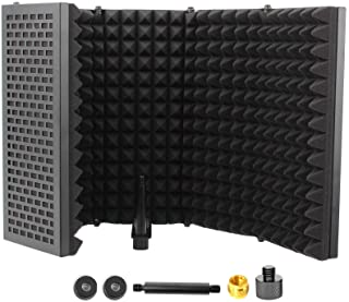 Microphone Isolation Shield, 5-Panel Sound Proof Acoustic Panels, High Density Sound Absorbing Foam & Vented Metal Plates ...