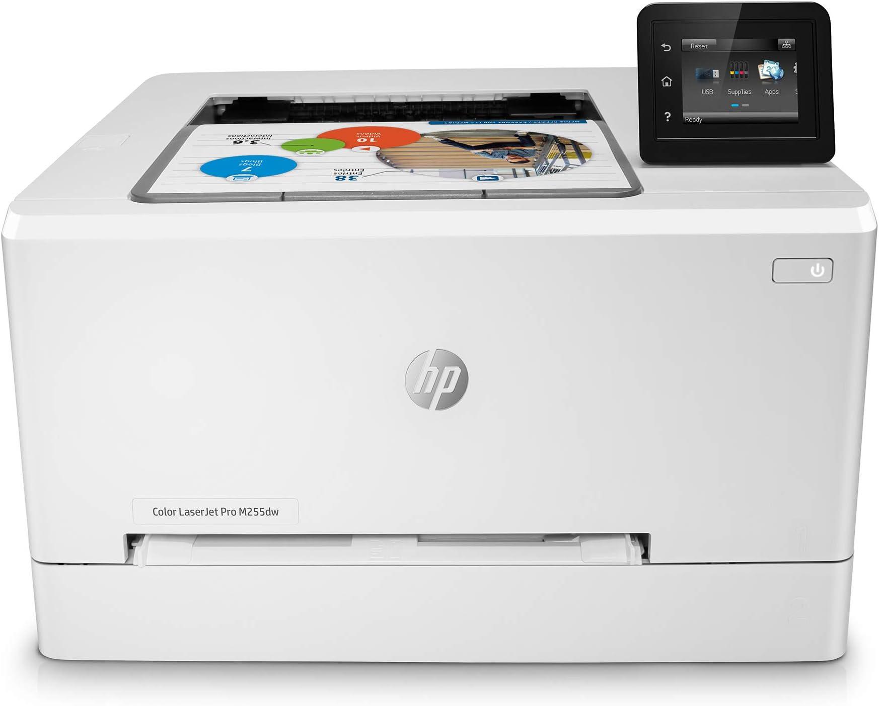HP Color LaserJet Pro M255dw Wireless Laser Printer, Remote Mobile Print, Duplex Printing, Works with Alexa (7KW64A)