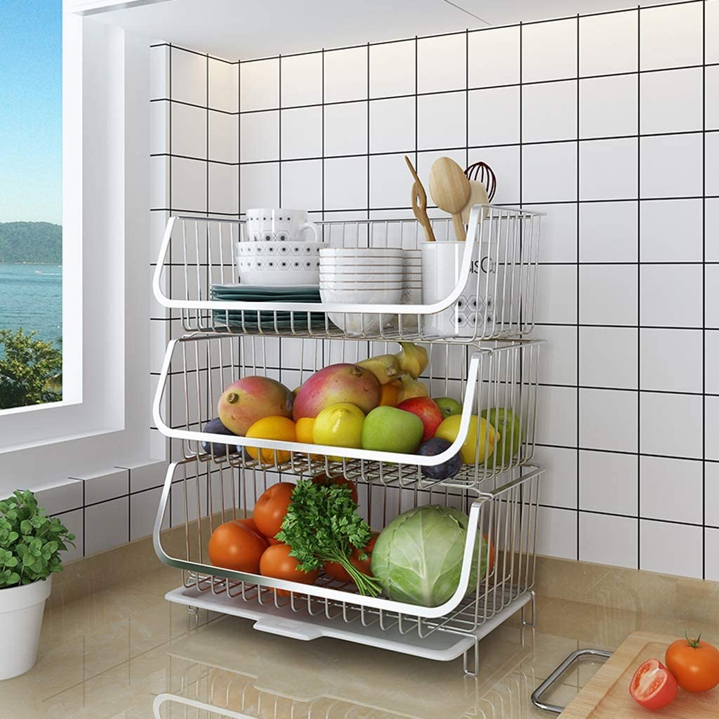 Amazon Com Fruit Baskets Storage Stand For Fruit Vegetables Snacks Home Kitchen And Office Storage Basket Organizer Kitchen Fruit For Fruit And Vegetable Storage Size 3 Layers