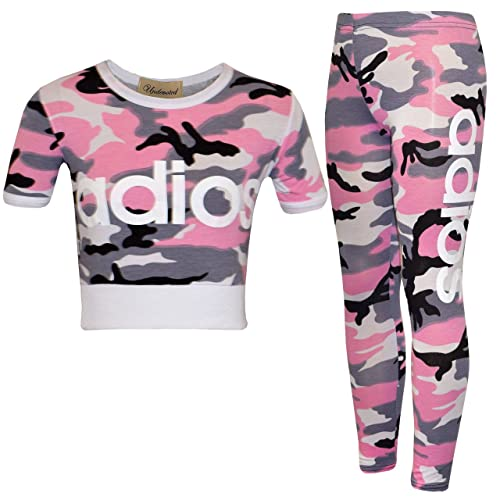 fb7e4d03b2f5 New Kids Girls Adios Camouflage Military Army Crop Top & Legging Age 7-13  Years