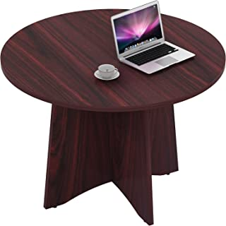 Sunon 47.2'' Laminate Round Conference Table Dining Table with X-Shaped Wood Base (Mahogany)