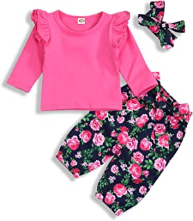YOUNGER TREE Kids Toddler Baby Girls Fall Outfits Ruffle Long Sleeve Shirt+Floral Pants Sets 3Pcs Clothes