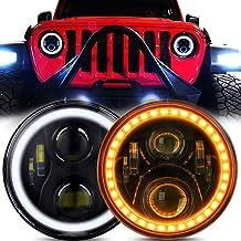 7 Inch LED Halo Headlights for Jeep Wrangler JK TJ LJ Hi/Lo Beam with DRL Amber Turn..