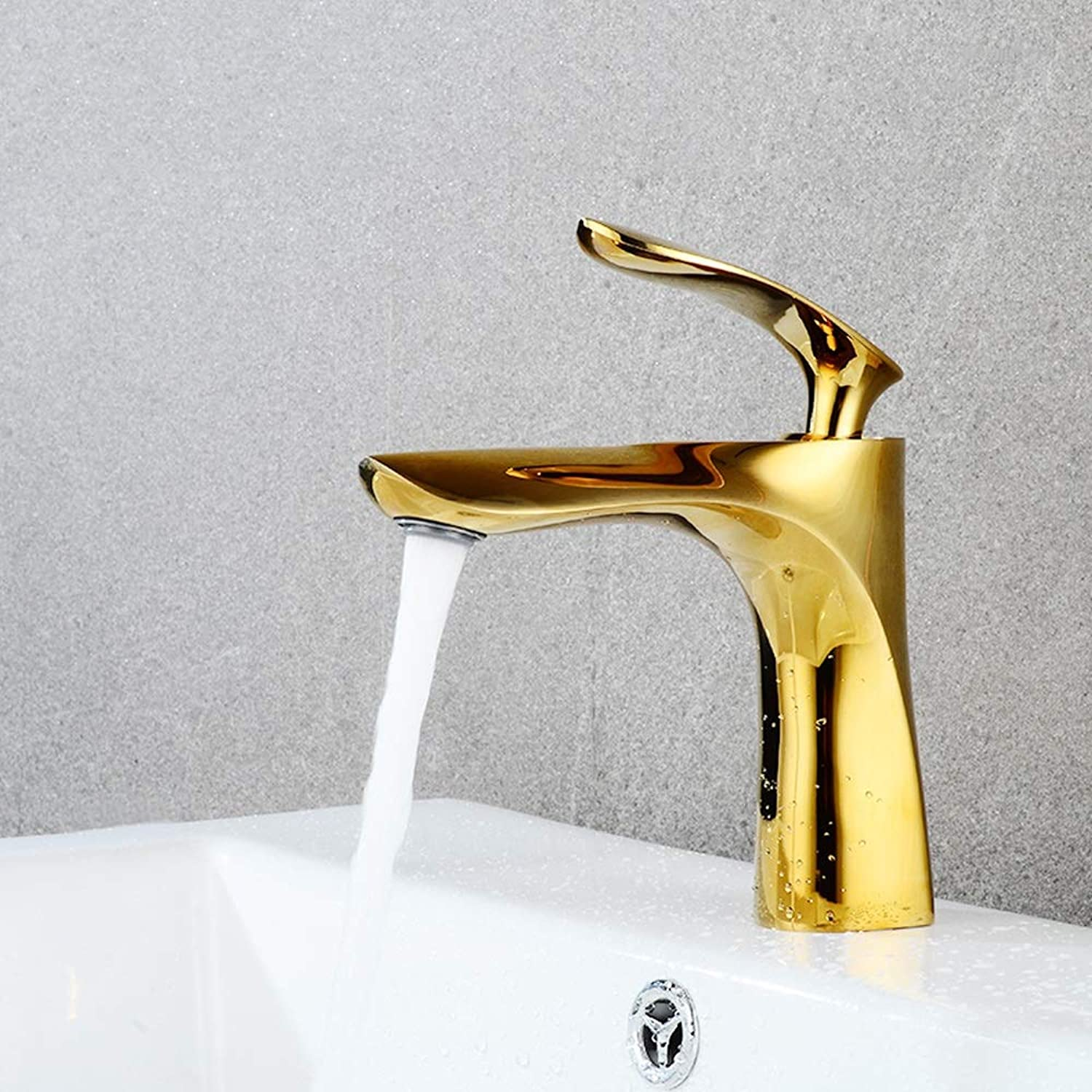 Dseing Bathroom Basin Single Hole Mixing Valve Hot And Cold Water Faucet, Brass Anti-corrosion Rustproof Durable Faucet, Minimalist Fashion Multicolor Practical Faucet (color   gold)