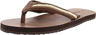 Gold Toe Men's Faux Leather and Denim Lightweight Thong Flip-Flops, Indoor Outdoor Open Toe Beach Sandal