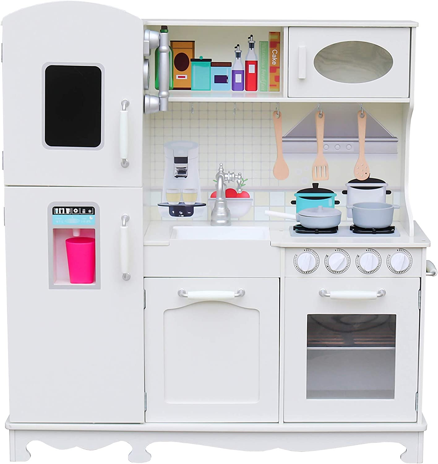 Amazon Com Play Kitchen For Toddlers Kitchen Toys Playset For Kids Pretend Play Cooking Set With Accessories Ultra Realistic Vintage Design Includes Sink Oven Stove Fridge Ice Maker And Microwave