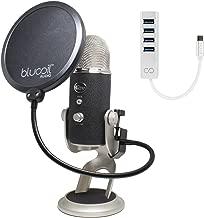 Blue Microphones Yeti PRO XLR/USB Condenser Mic Bundle with Blucoil Pop Filter Windscreen and USB C-Type Mini Hub with 4 USB Ports