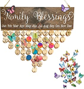 Wooden Family Birthday Calendar Board Wall Hanging DIY Birthday Reminder Tracker Plaque with Tags Butterfly Home Decor, Gifts Presents for Mom Grandma Dad Grandpa, Christmas, Birthday/Fathers' Day