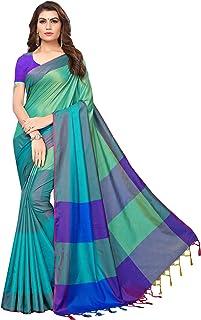GoSriKi Art Silk Saree with Blouse Piece (IND058-RAMA_Rama_Free Size)
