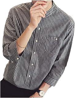 [グリーンティー] シャツ 七分袖 半そで ノーカラー ストライプ 柄 ボタン 前開き 男女兼用 ノンアイロン 涼しい