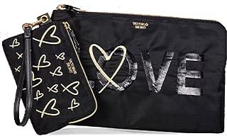 Victoria's Secret Bling Sequin LOVE Clutch Zippered Pouch Wristlet Set