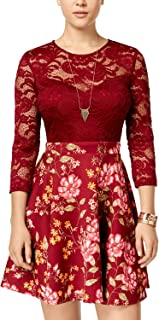 B Darlin Juniors' Lace & Floral-Print Scuba Fit & Flare Dress