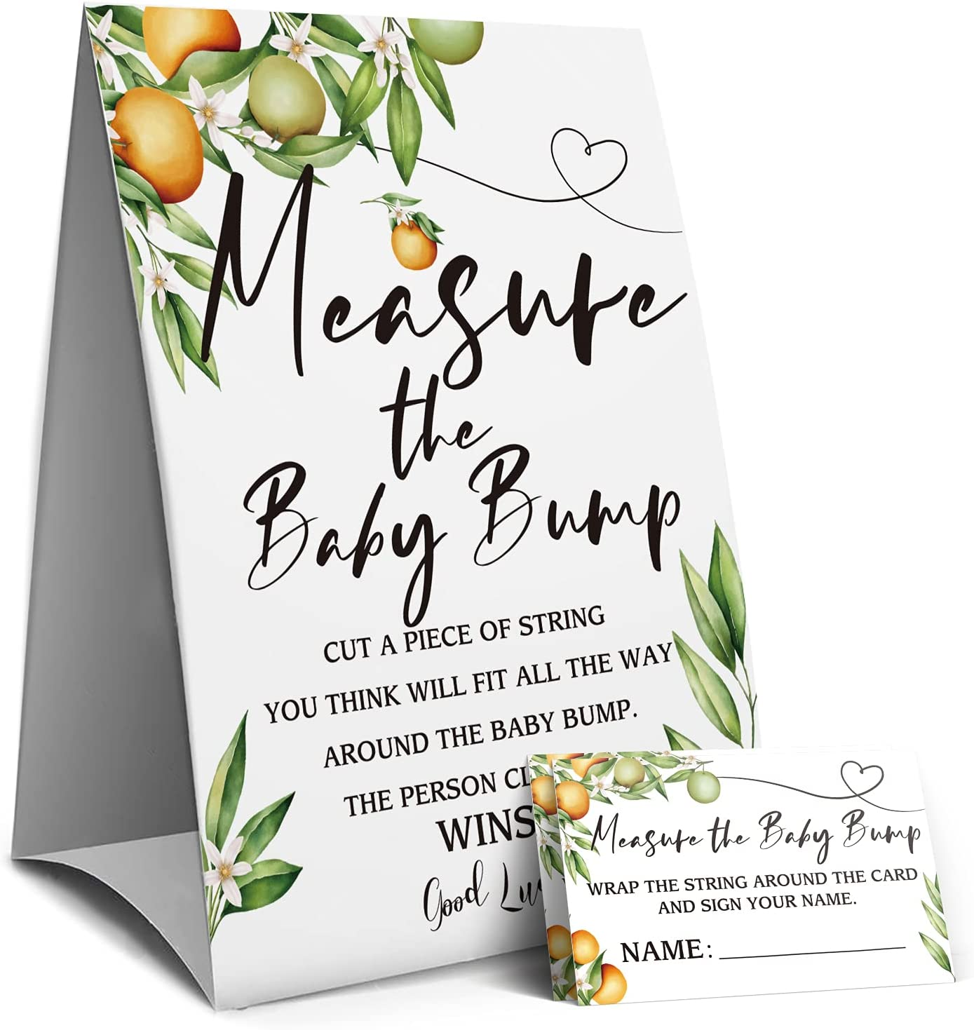 Measure Mommy's Belly Sign, Baby Shower Sign, Measure the Baby Bump How Big is Moms Belly -1 Sign and 50 Guessing Cards(3A)