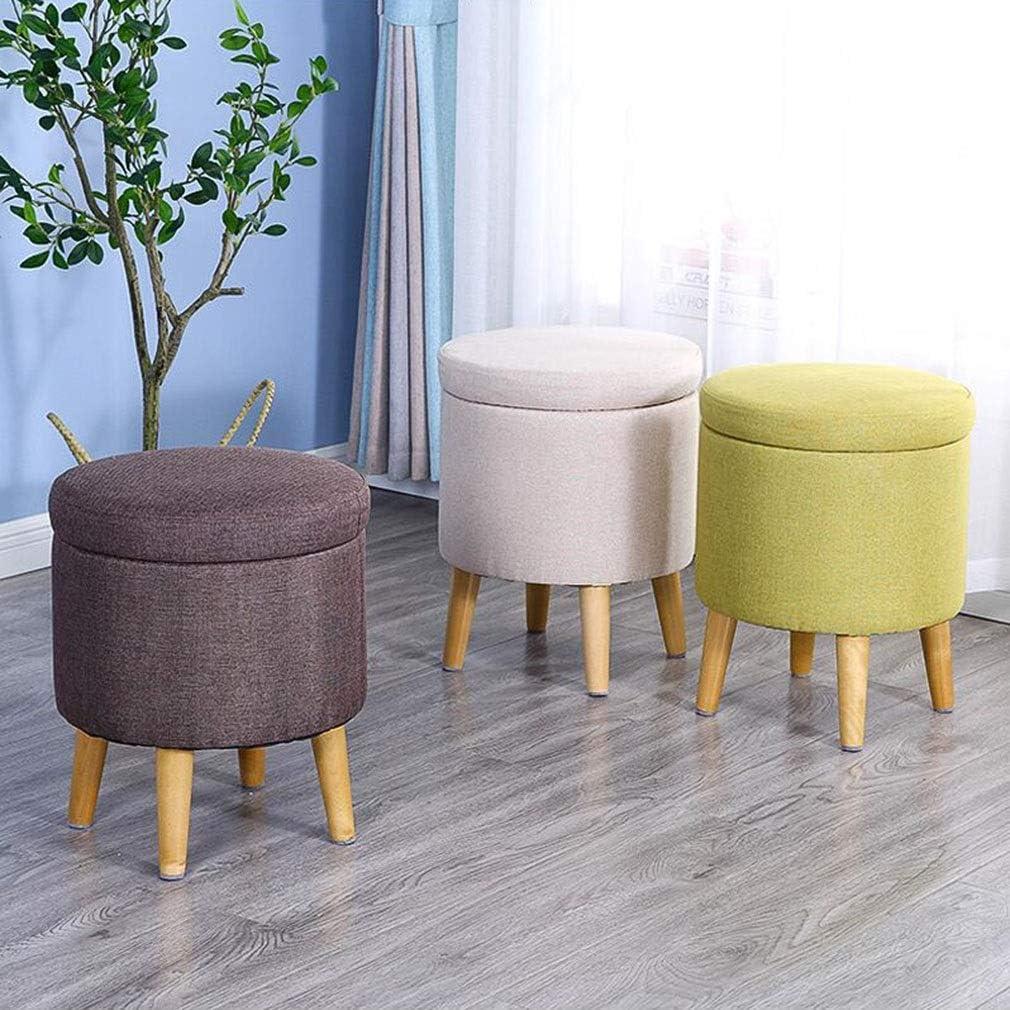 YCSD Repose Pieds Ottoman Pouf Repose-Pieds Rangement Tabourets Bas Poufs Ronds Coussin D'assise pour Chaise, 4 Pieds en Bois (Color : A04) A 02