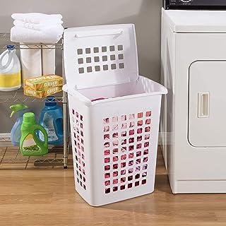 Sterilite 12238004 Rectangular LiftTop Laundry Hamper, White, 4-Pack