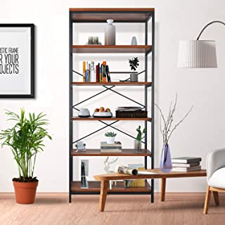 Himimi 5-Shelf Industrial Bookcase, Vintage Wood Open...