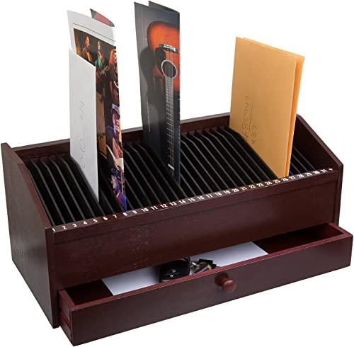 """wholesale JUMBL™ new arrival 17"""" - 31 Slot Wooden Bill/Letter Organizer with Drawer - Mahogany Dark sale Brown online sale"""