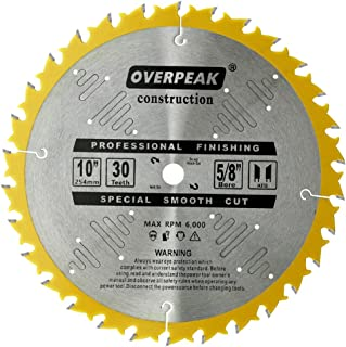 Overpeak 10 Inch Circular Saw Blade 30 Tooth Carbide Tip General Purpose Wood Cutting Saw Blades with 5/8