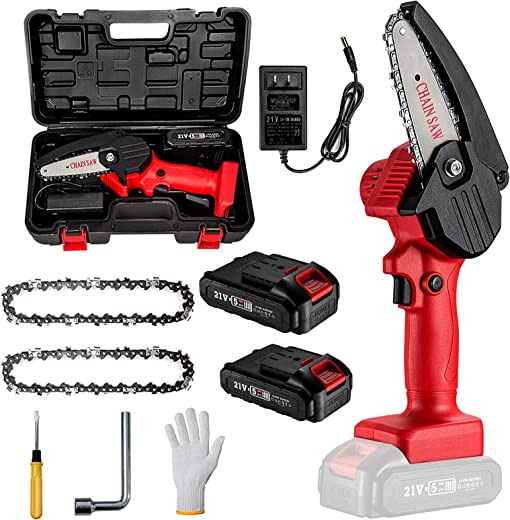 MKSENSE Mini Chainsaw, 4-Inch Cordless Electric Protable Chainsaw with 2Pcs Batteries &...