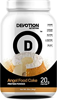 Devotion Nutrition Protein Powder, Angel Food Cake, 20g Protein, 1g Mct, Protein Baking Powder, Whey Protein Powder, Low Carb Protein, 2 Pound Tub, 1 Count