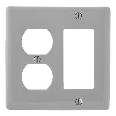 Bryant Electric NPJ826GY Wallplate, Nylon, Mid-Sized, 1-Gang, 1 Duplex, 1 Decorator/GFCI, Gray