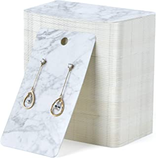 Coopay 200 Pieces Earring Display Card Earring Card Holder Blank Kraft Paper Tags for DIY Ear Studs and Earrings,3.5 x 2 Inches (Marble Stripe)