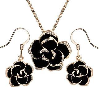 cadeau pour les filles et les femmes boucles doreilles en opale Deniferymakeup Parure de bijoux avec opale et boucles doreilles et collier en cymophane avec pierre pr/écieuse