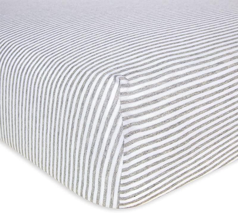 Burt S Bees Baby Fitted Crib Sheet Boys Unisex 100 Organic Cotton Crib Sheet For Standard Crib And Toddler Mattresses Heather Grey Thin Stripes