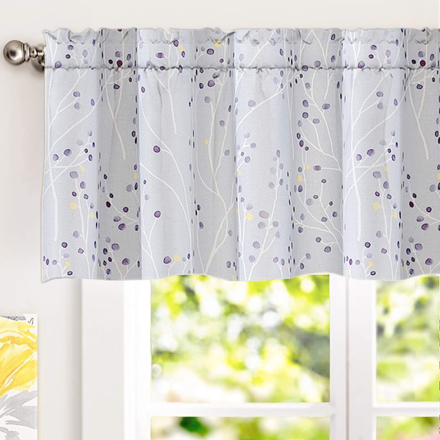 DriftAway Harper Ink Floral Pattern Window Valance Year-end annual Super sale period limited account Treatment Cur