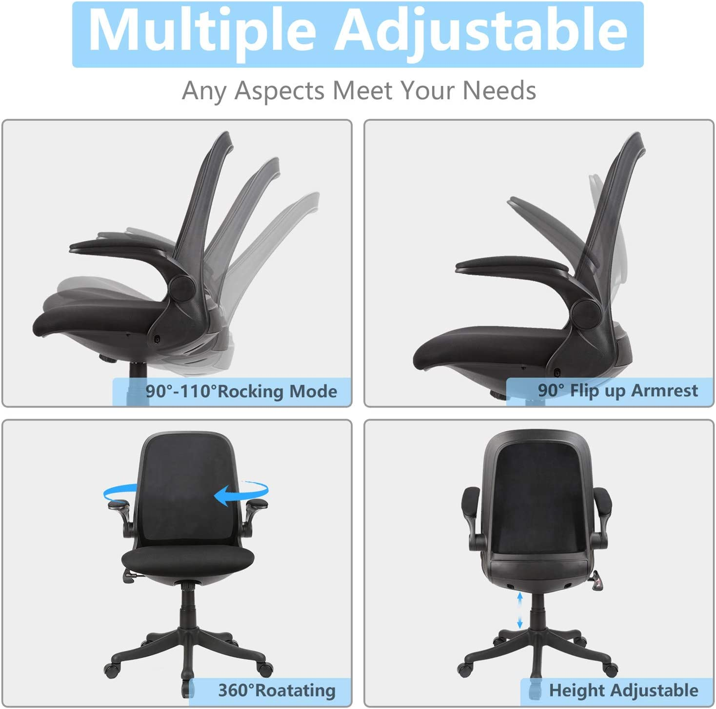 Hold on 300Lbs Mid-Back Ergonomic Home Office Chair,Komene Adjustable Mesh Computer Chair Thickened Seat Desk Chair with Lumbar Support and Flip-up Armrest Task Chair
