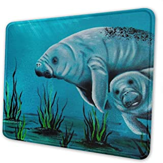 Valentine's Day Manatee Kawaii Theme Art Mouse Pad Natural Rubber Mouse Pad W/Printing of Border 10x12 Inches