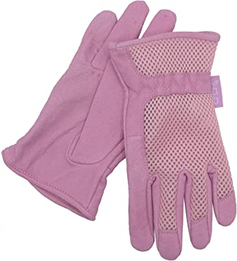 HANDLANDY Womens Garden Gloves, Scratch Resistance Leather Gardening Gloves for Ladise,Yard Gloves 3D Mesh Comfort Fit- Improves Dexterity and Breathability (Medium, Pink)