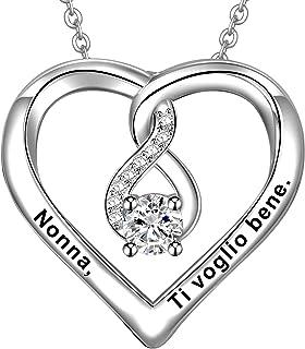 LOVORDS Collana Donna Incisa Personalizzata Argento Sterling 925 Pendente Ciondolo Cuore Infinito Regalo Mamma Madre Fidan...