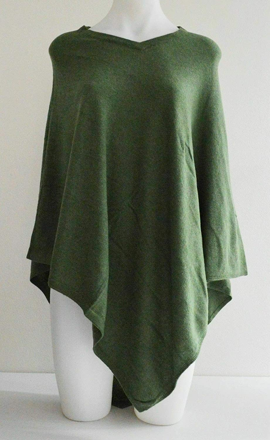100% Cashmere Pashmina Forest Green Poncho Wool Cape Wrap Soft Warm Women Long Sleeve Winter