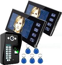 Videodeurtelefoonintercomsysteem, 7 inch bekabelde videodeurbel, 2 LCD-monitoren + nachtzichtbeveiligingscamera, RFID-ving...