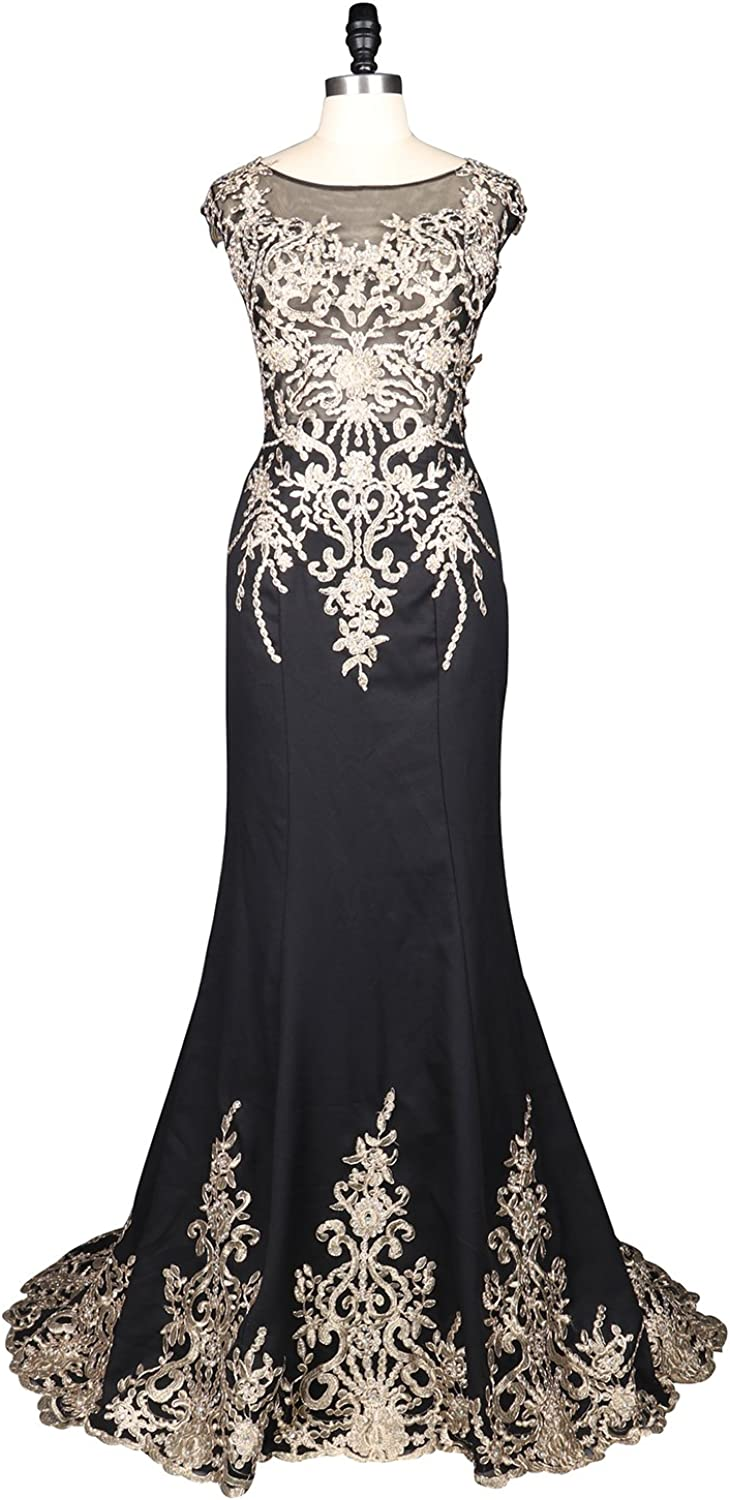 Epinkbridal Cap Sleeve Embroidery Lace Evening Dress Gowns Mermaid Wedding Party Gowns