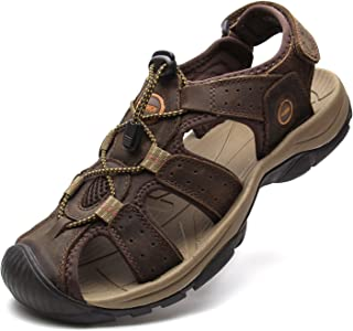 YoCool Men's Fisherman Sandals Leather Closed Toe Athletic Sport Casual Beach Water Sandals