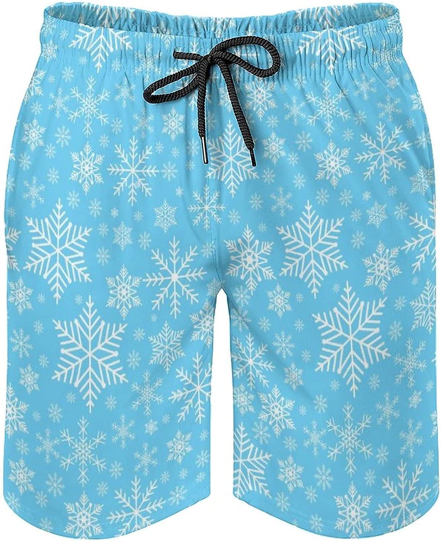 Men's Quick Dry Swim Trunks Drawstring Waist Beach Pants Board Shorts with Mesh Lining (Christmas Snowflakes Pattern Sky Blue)