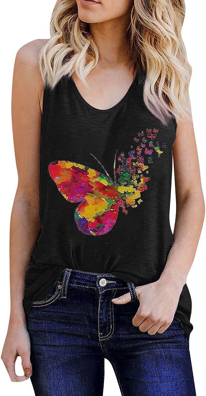 Women Butterfly Print Vest Sleeveless Loose Tee Shirt Blouse Summer Casual Racerback Tank Tops Cami