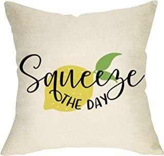 Softxpp Squeeze The Day Summer Throw Pillow Cover, Decorative Farmhouse Lemon Pillow Case Decor Seasonal Square Cushion Cover Spring Home Decorations for Sofa Couch 18�� x 18�� Cotton Linen