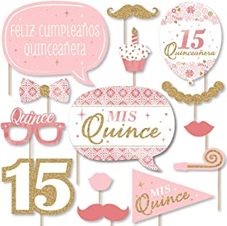 Big Dot of Happiness Mis Quince Anos - Quinceanera Sweet 15 Birthday Party Photo Booth Props Kit - 20 Count