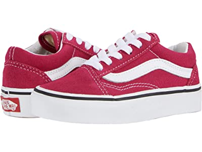 Vans Kids Old Skool (Little Kid/Big Kid) (Cerise/True White) Girls Shoes